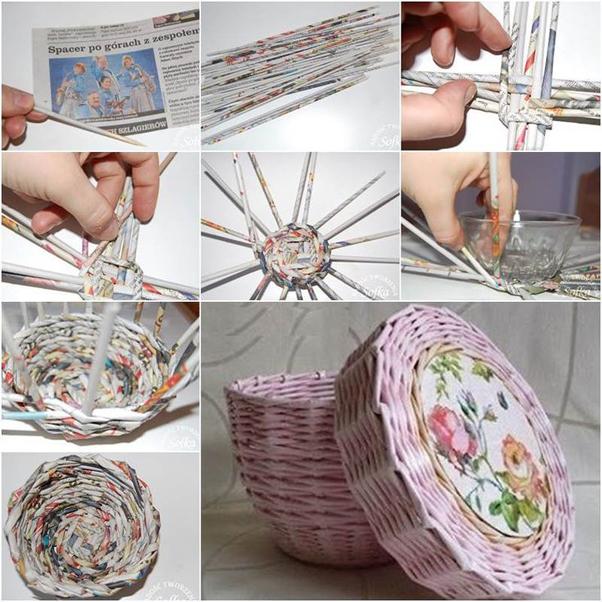 artesanato de jornal cesto