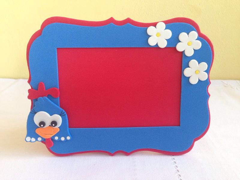 porta retrato em eva galinha pintadinha
