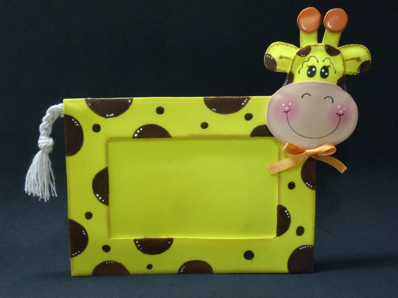 porta retrato em eva girafa