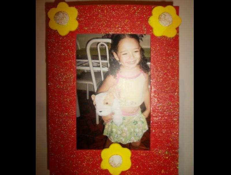 porta retrato em eva com flor