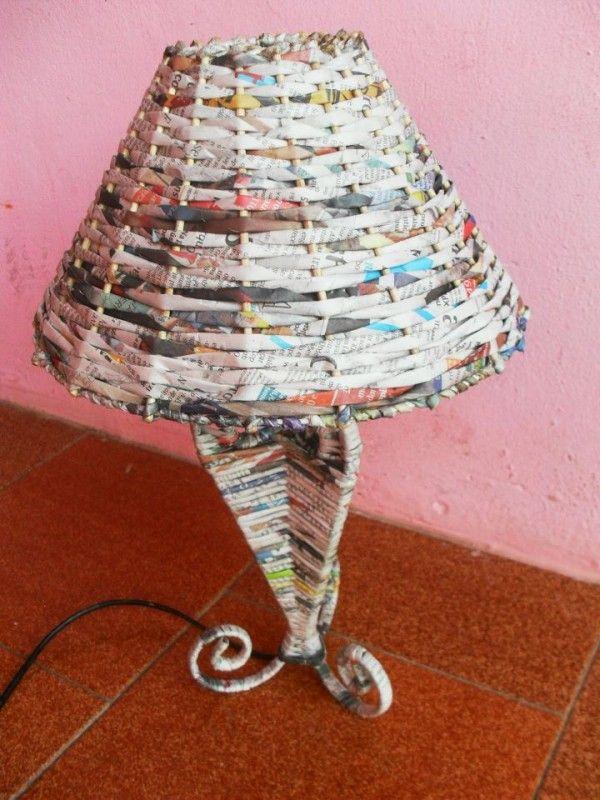 artesanato de jornal abajur