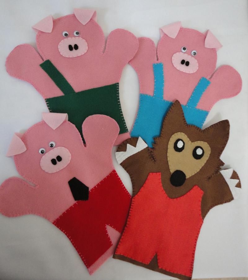 fantoche em feltro porcos