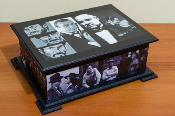 caixa decorada de mdf preta