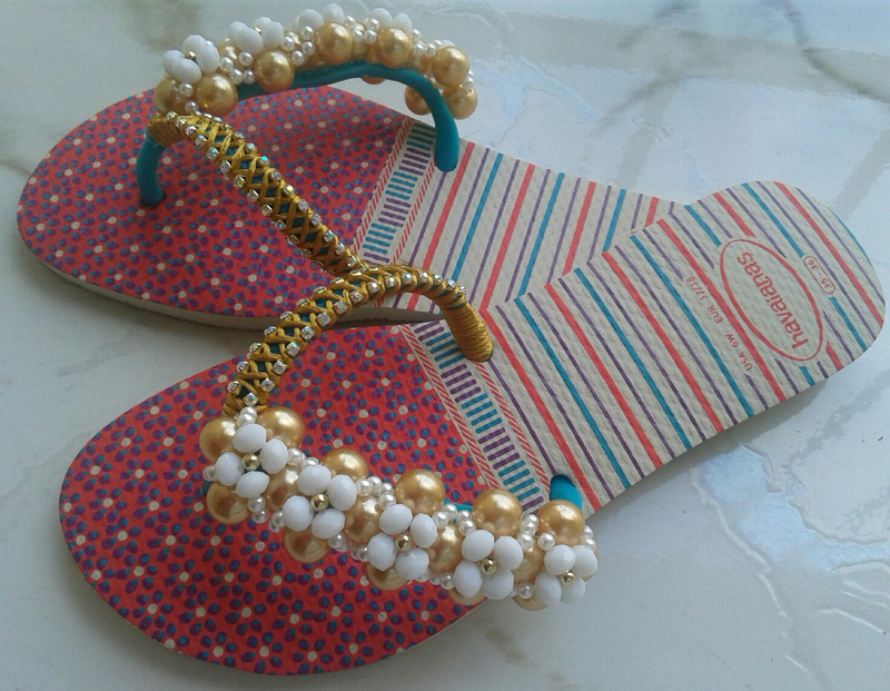 chinelo decorado estampado