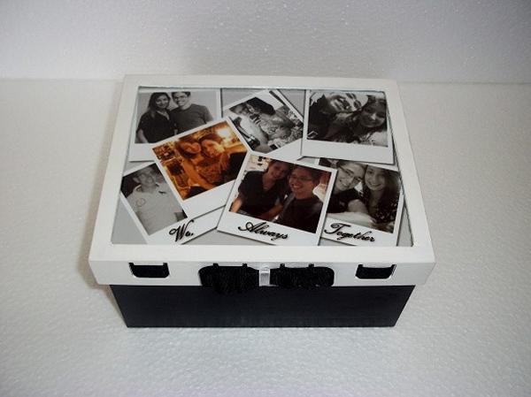 caixa decorada de mdf com fita