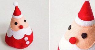 Papai Noel de Feltro com Molde Passo a Passo
