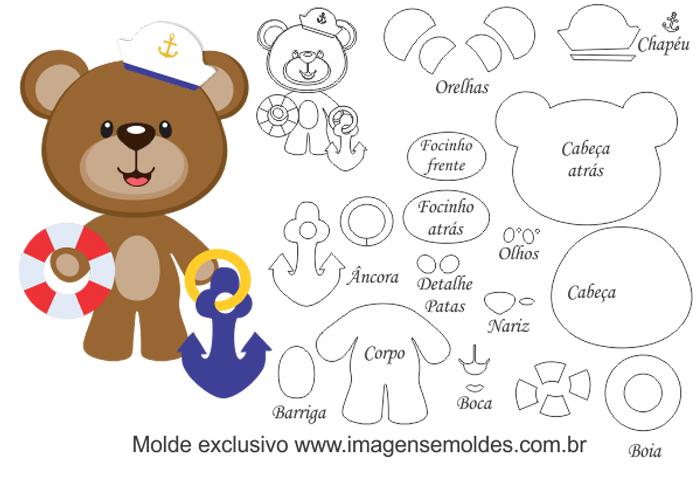 molde de urso em feltro marinheiro