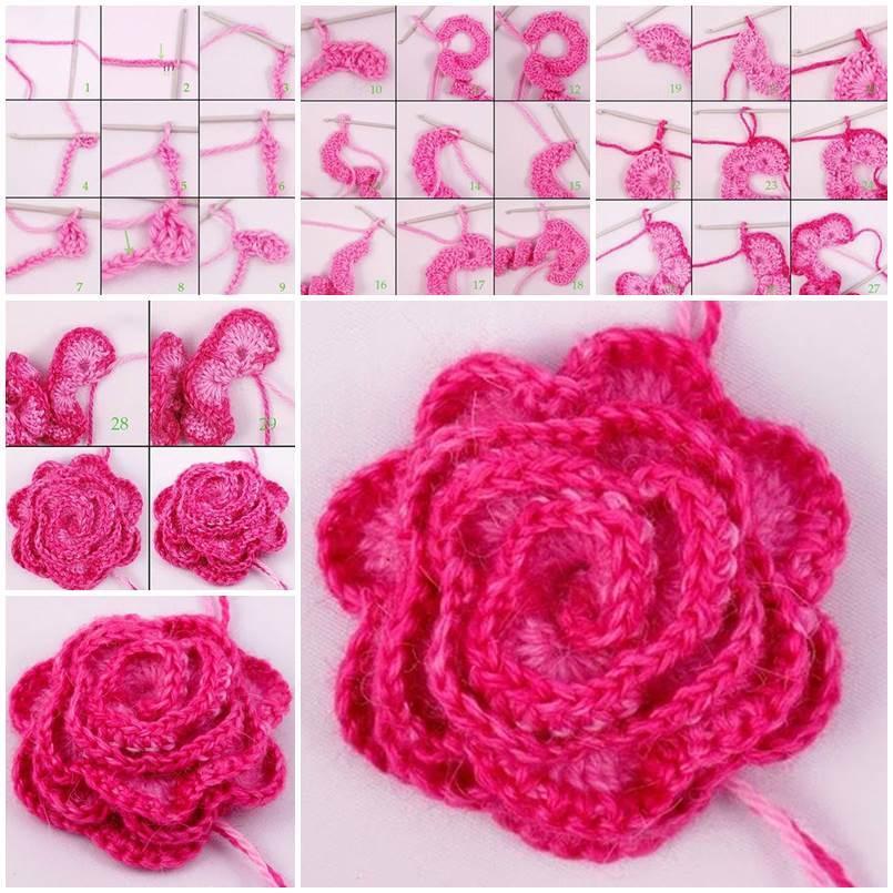 flor de crochê pink