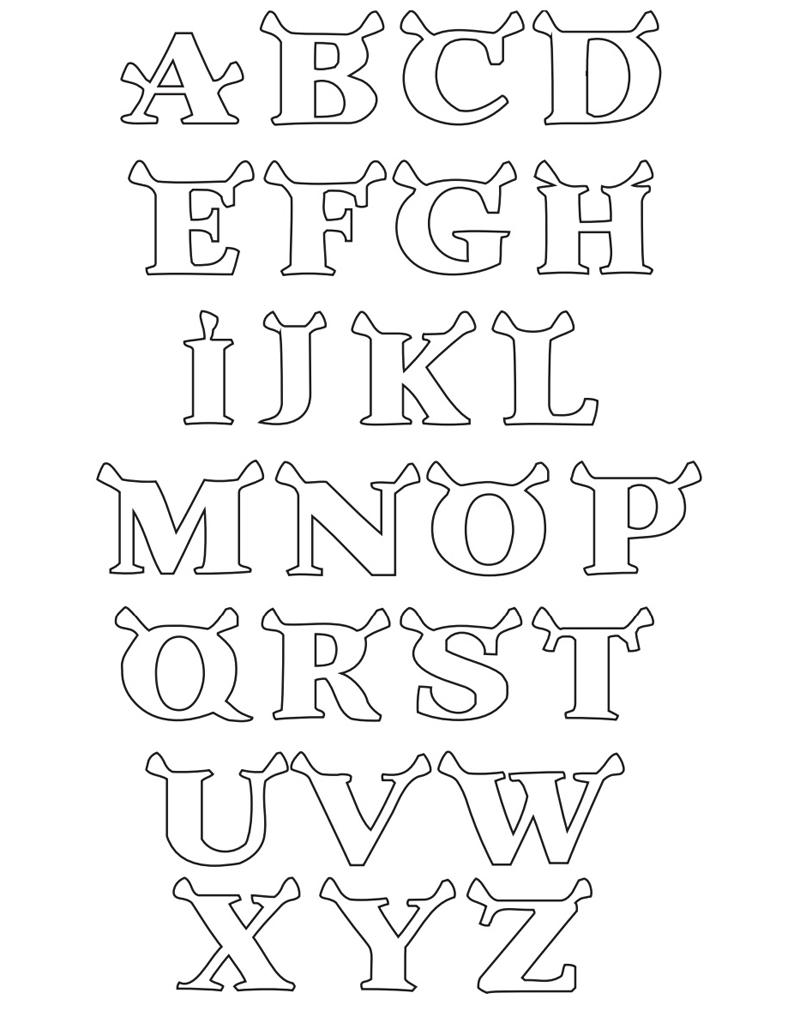 molde de alfabeto sherek