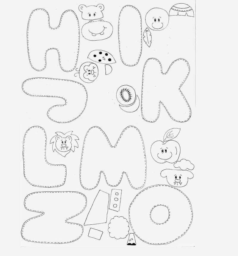 molde de alfabeto com animais