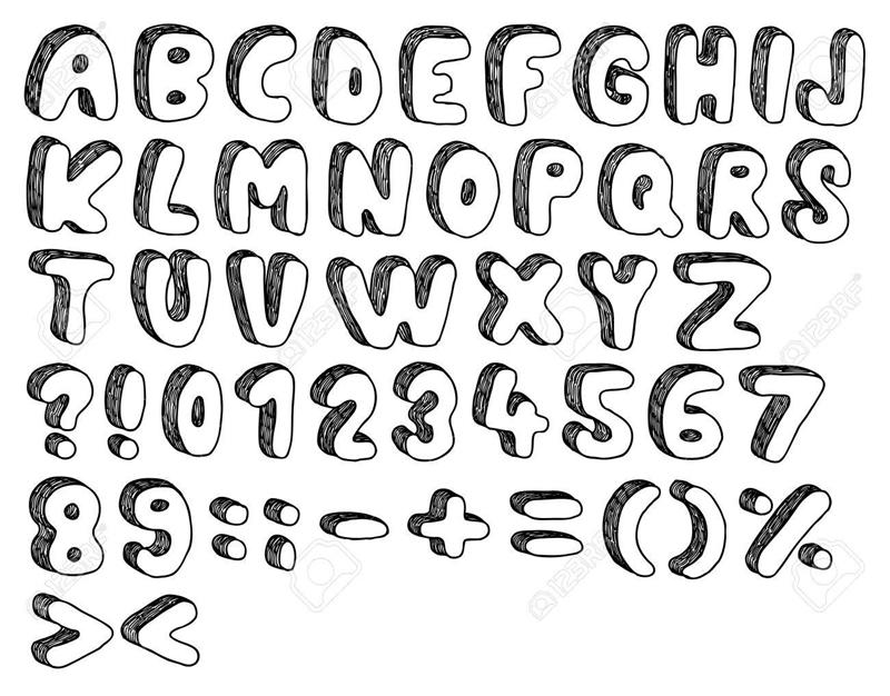 molde de alfabeto sombreado
