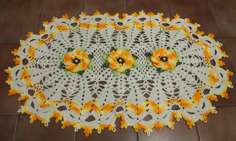 tapete flor de crochê