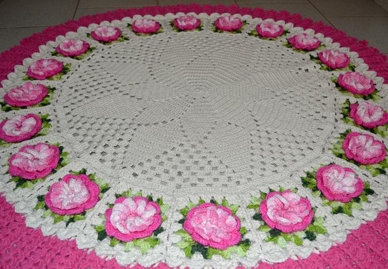 flor de crochê tapete