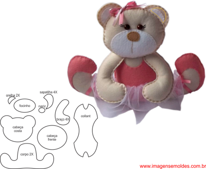 molde de urso em feltro ursa