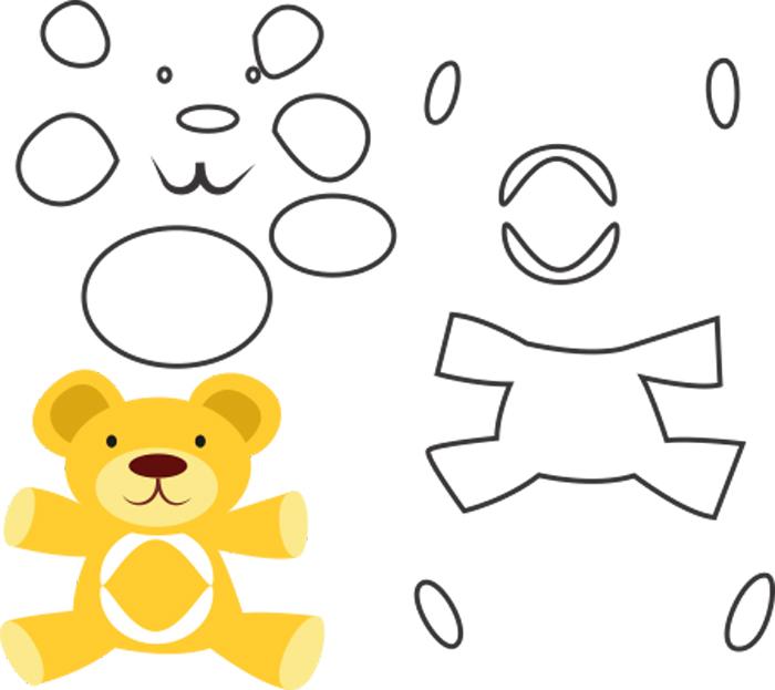 molde de urso em feltro amarelo