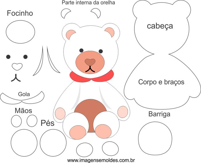 molde de urso em feltro fofo