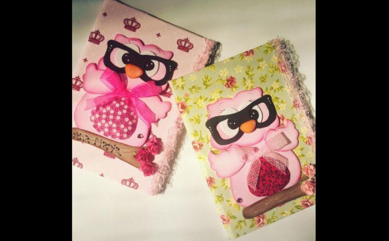 capa caderno eva corujas