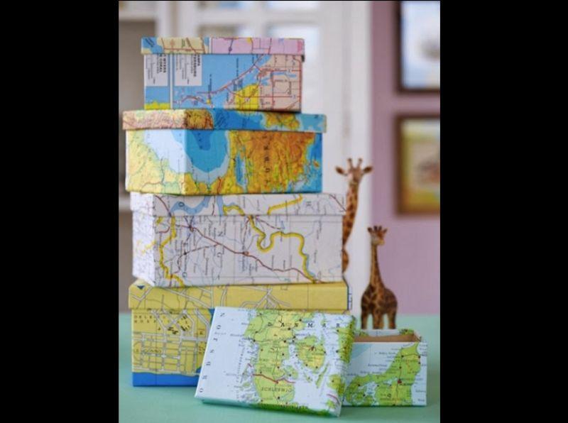 caixa com mapa