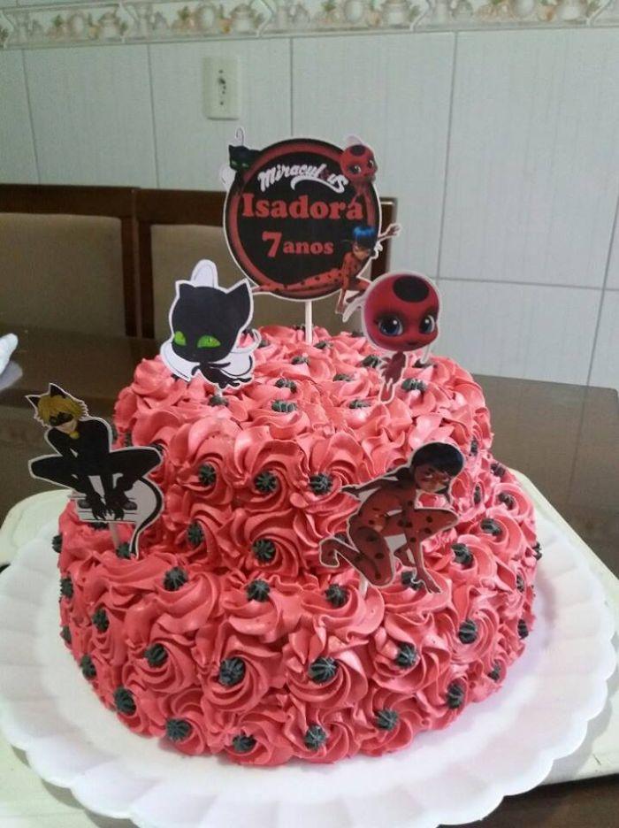 Bolo Da Ladybug Quadrado Redondo Simples Pasta