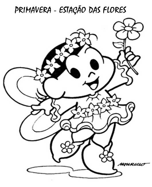 desenho da primavera turma da monica