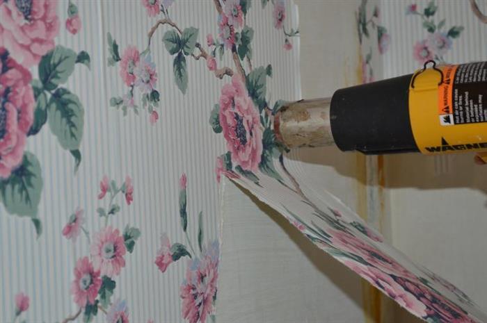 remover papel de parede com secador